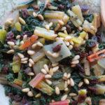 Baby Boomer Recipes   Vegetarian   Rainbow Swiss Chard with Raisins and Pignolis