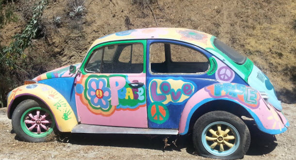 A Classic 60's VW found in Black Canyon just West of Chatsworth in Los Angeles #groovy #VWbug #Classicbeetle #Volkswagon