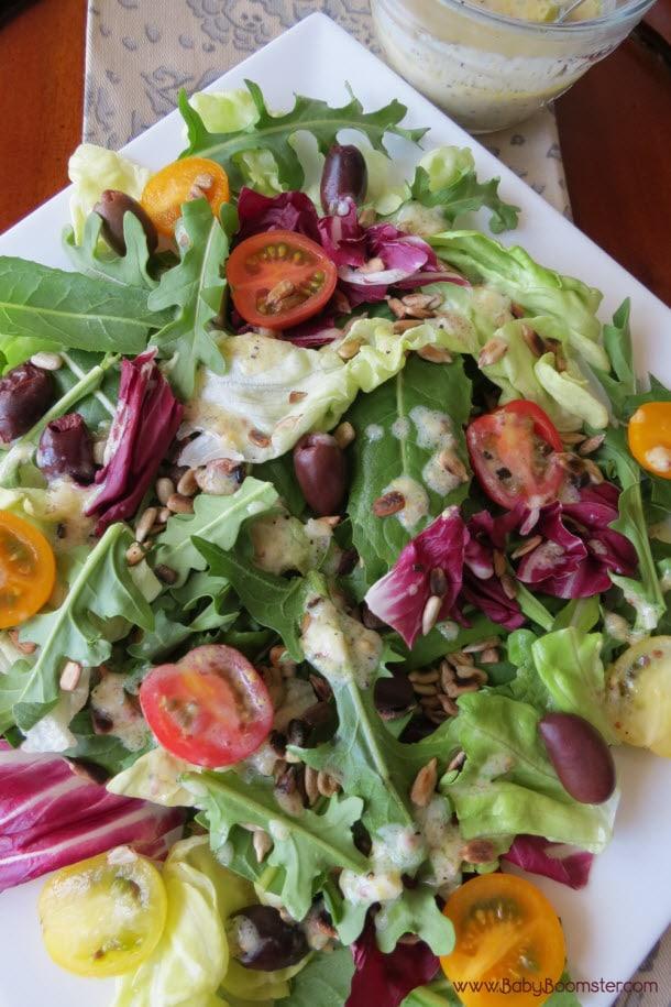 Baby Boomer Recipes | Dandelion and Arugula Salad with Yogurt Vinaigrette