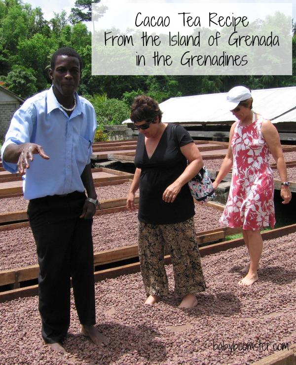 Belmont Estate Chocolate Plantation in Grenada walking on Cacao balls.