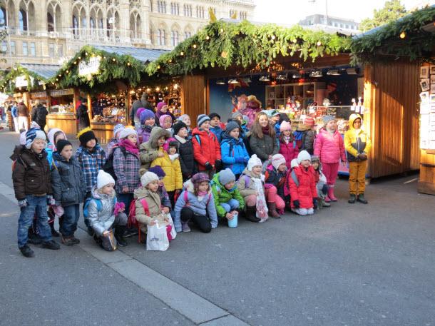 Children posing at the Rathausplatz - Vienna Christmas Market