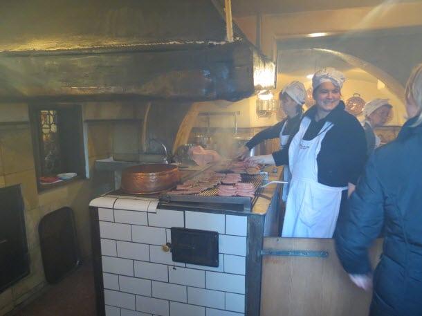 Inside Regensburg Sausage Stand