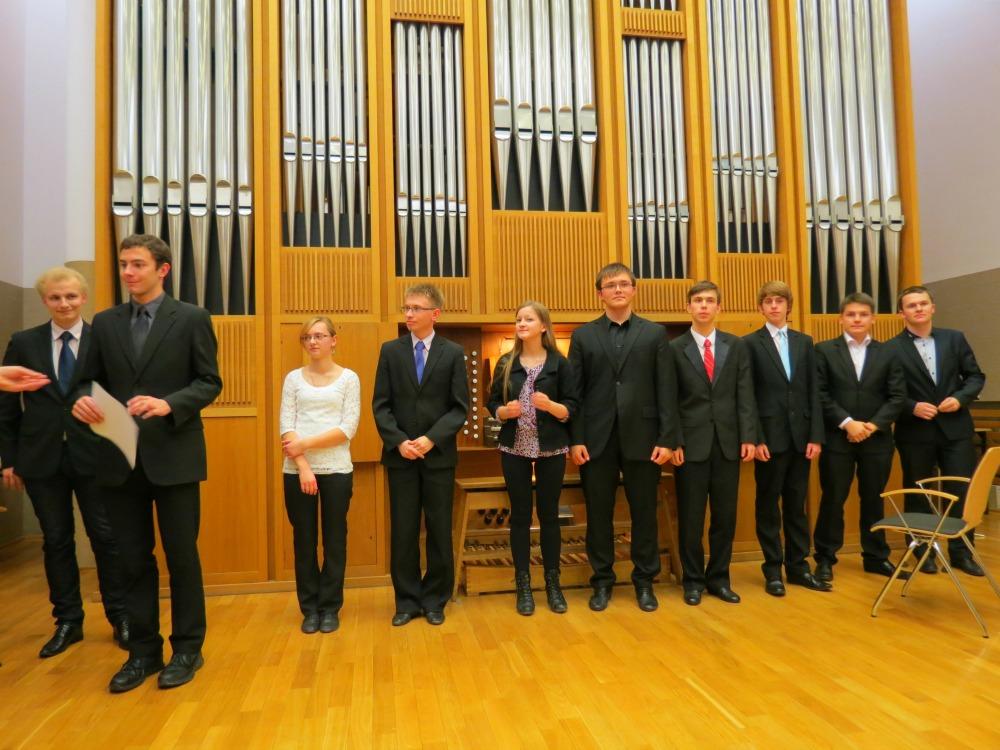 Students of the Kraków Academy of Music with organ. Kraków, Poland