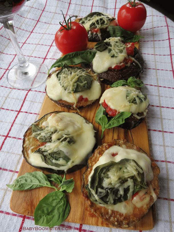Eggplant and Portobello mushroom mini pizzas