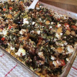 Kale and Quinoa Casserole with Chickpeas