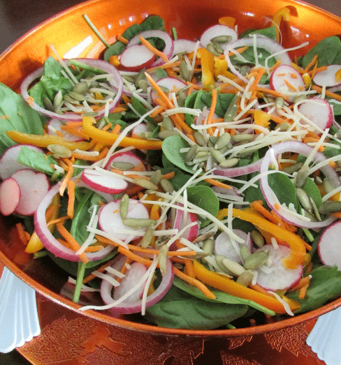 Spinach Salad with Pumpkin Seed Oil Dressing