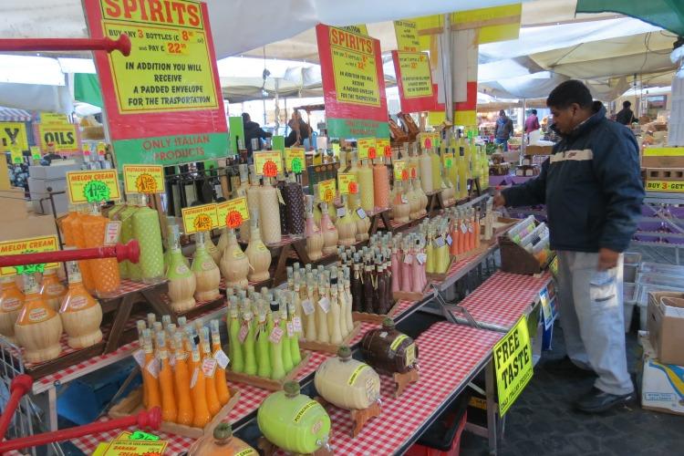 Baby Boomer Travel   Italy   Campo di Fiori market spirits