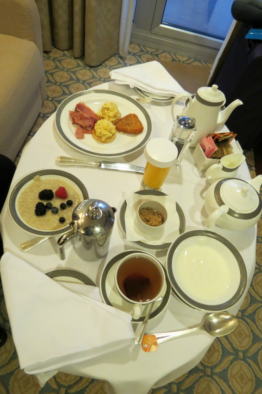Baby Boomer Travel   Cruising   Breakfast in our suite - Cunard Queen Elizabeth