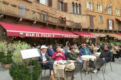 Cafe on the Piazza Del Campo in Siena Italy