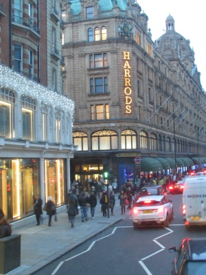 Harrods London magic hour