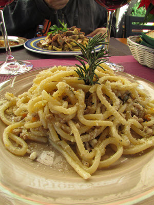 Pici Pasta with Seafood Florence Italy