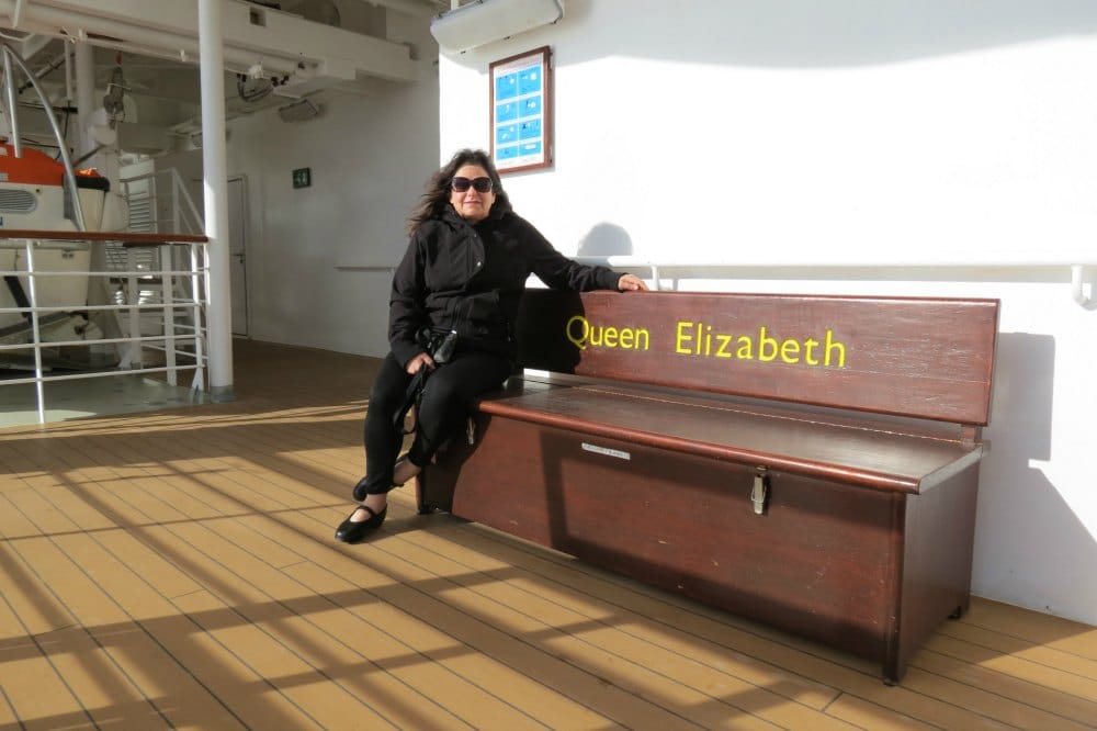 Rebecca Forstadt Olkowski - Baby Boomer blogger and founder of BabyBoomster.com on the deck of the Queen Elizabeth #Cunard #cruiseship #oceanliner