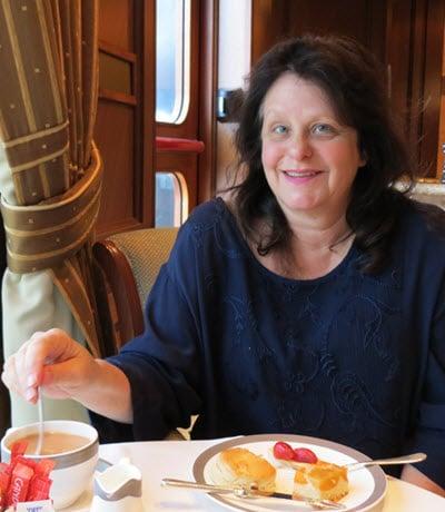 Rebecca having tea aboard the Queen Elizabeth