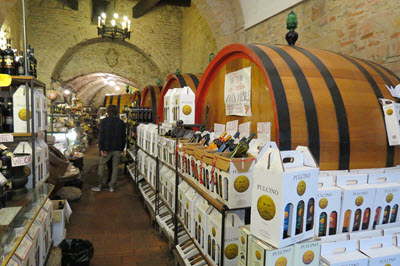 Wine store in Montepulciano Italy