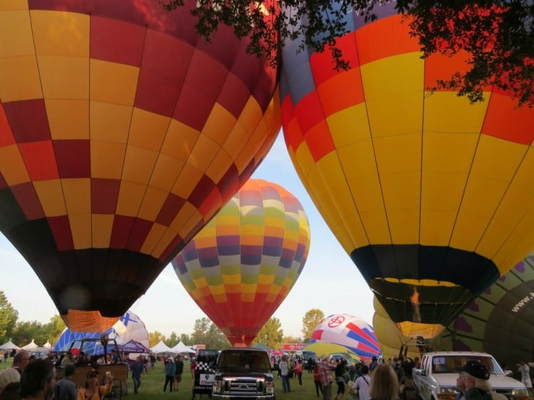 Hot Air Balloons on Ground at the Temecula Wine Tasting and Hot Balloon Festival