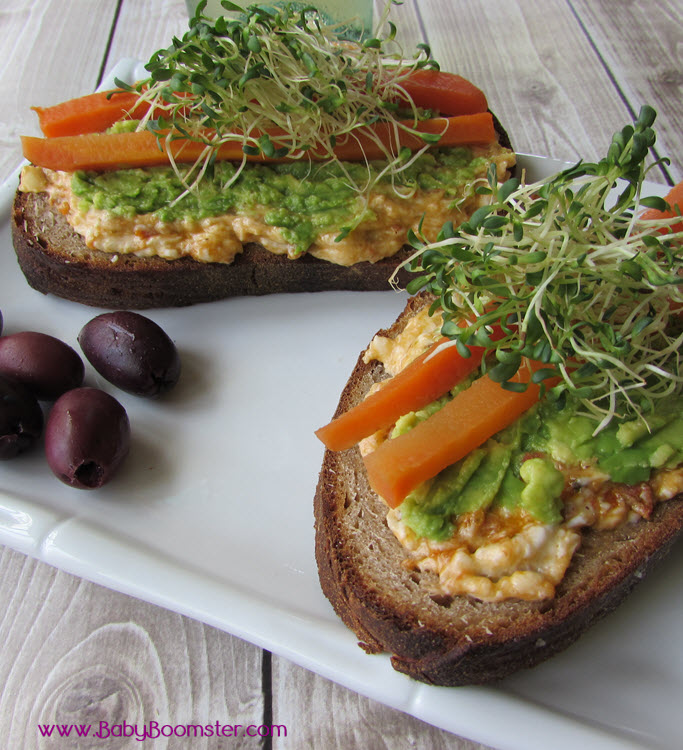 Baby Boomer Recipes   Burrata and Avocado Tartine Open Faced Sandwich
