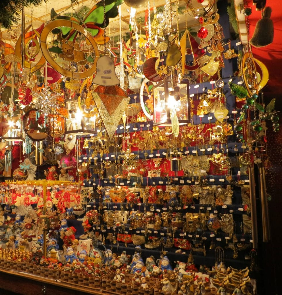 Booths are filled with food and Christmas Decorations at the #Nurnberg #ChristmasMarket #Nuremberg #Germany