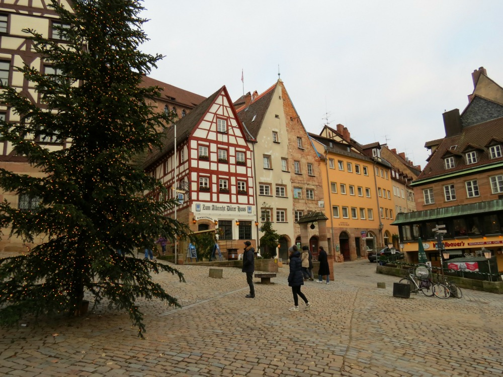 Holiday Christmas trees decorate Nürnberg during the holidays.