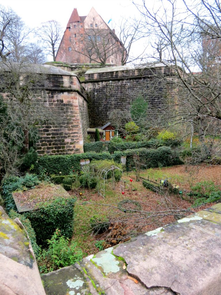 A view of restored city walls in Nürnberg