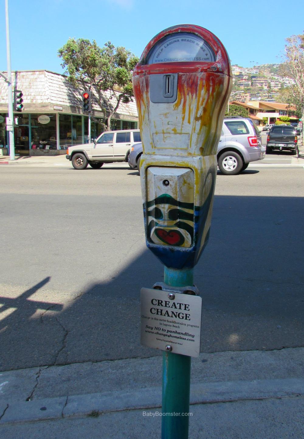 Parking meter for the homeless. Laguna Beach, CA