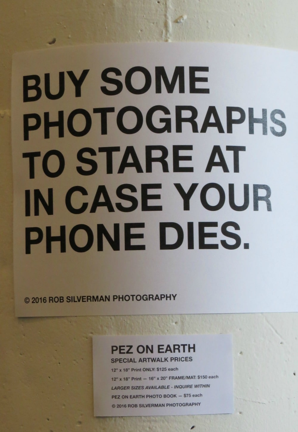 Sign at an art show in Los Angeles