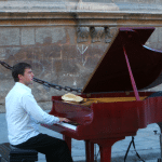 Baby Boomer Travel   Seville, Spain   Pianist outside Seville Cathdral
