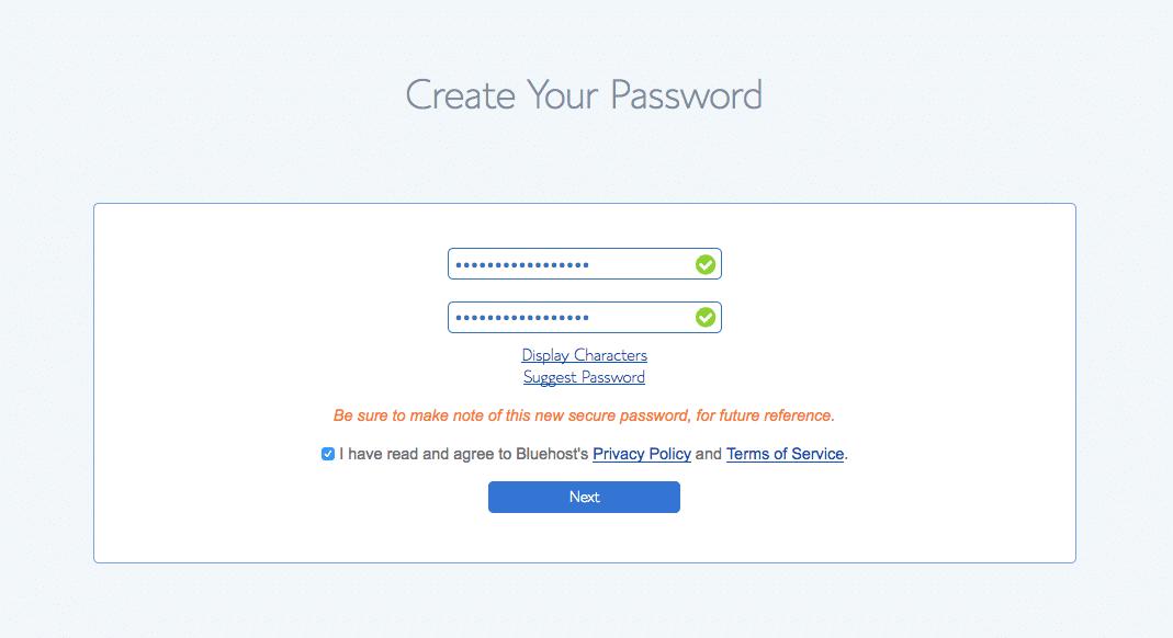 Baby Boomer blogging   hosting   Bluehost password step 2