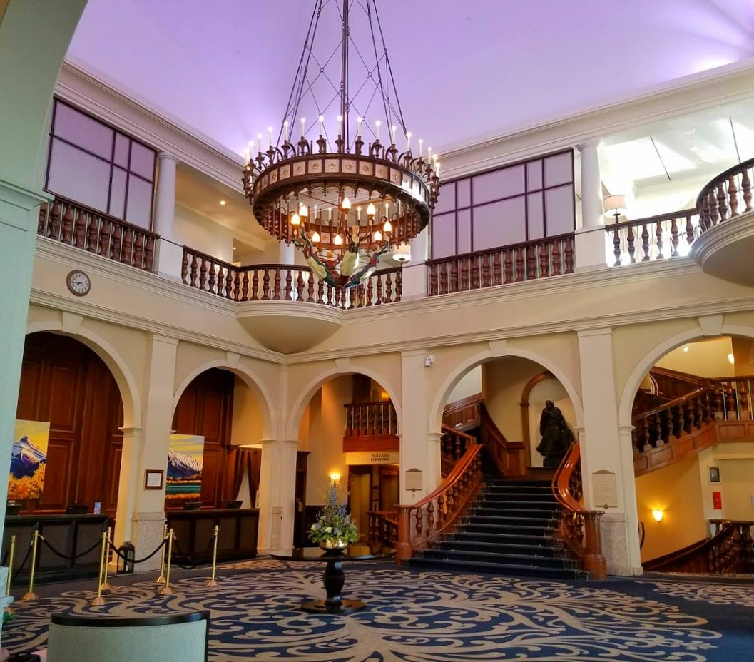 The lobby at the Fairmont Chateau at Lake Louise #LakeLouise #lobby #hotel #Canada
