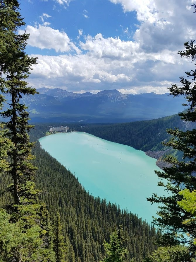 View of Lake Louise and the Fairmont Chateau from our #hike #Canada