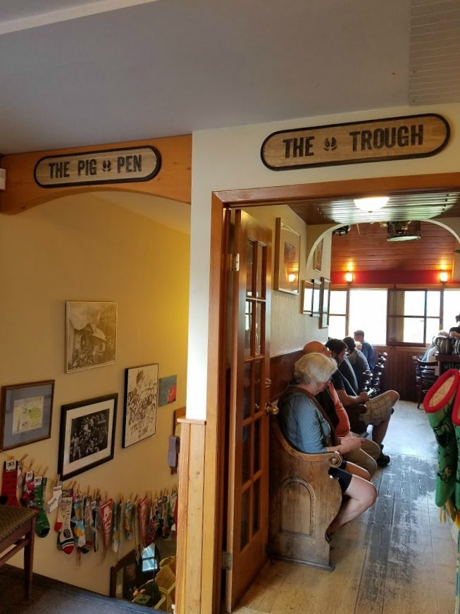 Doorway to the Truffle Pigs Bistro and downstairs coffeeshop - BC Canada
