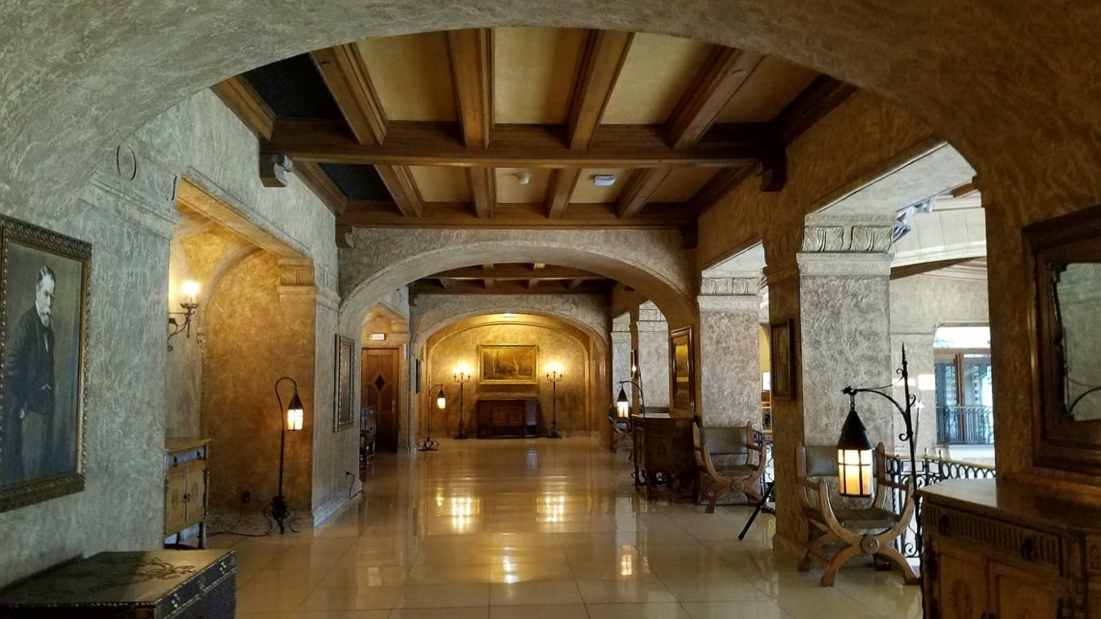 One of the corridors of the Banff Springs Hotel with a ghostly painting