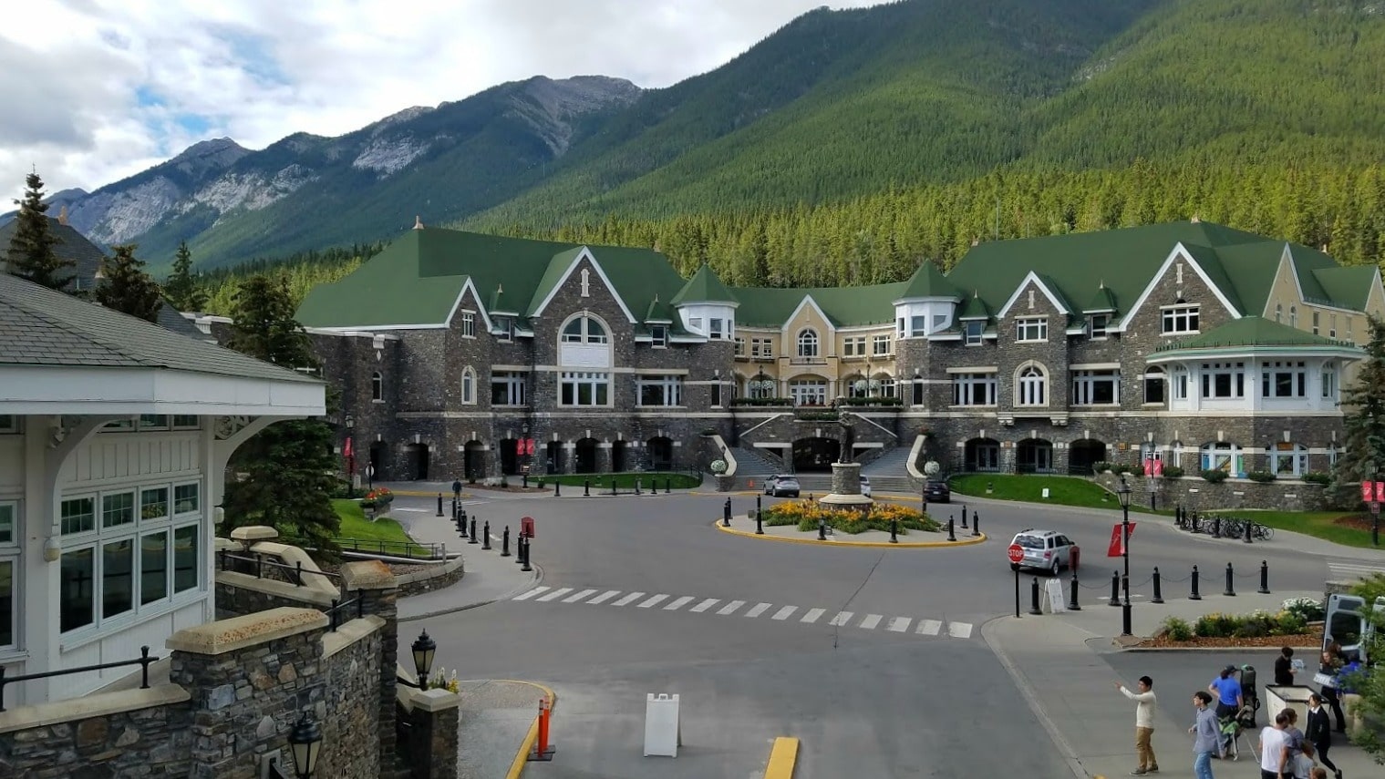 The Outer Courtyard of the Banff Springs Hotel and entrance for guests