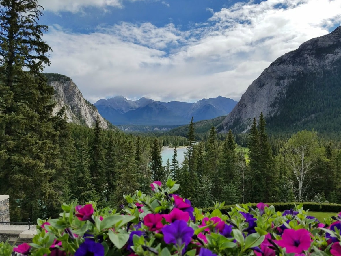 A magnificent view of Banff National Park from the Fairmont Hotel