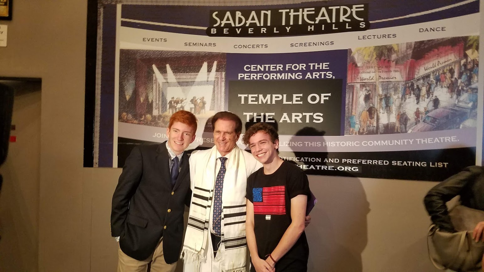 Parkland students Ryan Deitsch and Chris Grady at Temple of the Arts Yom Kippur Services with Rabbi Baron