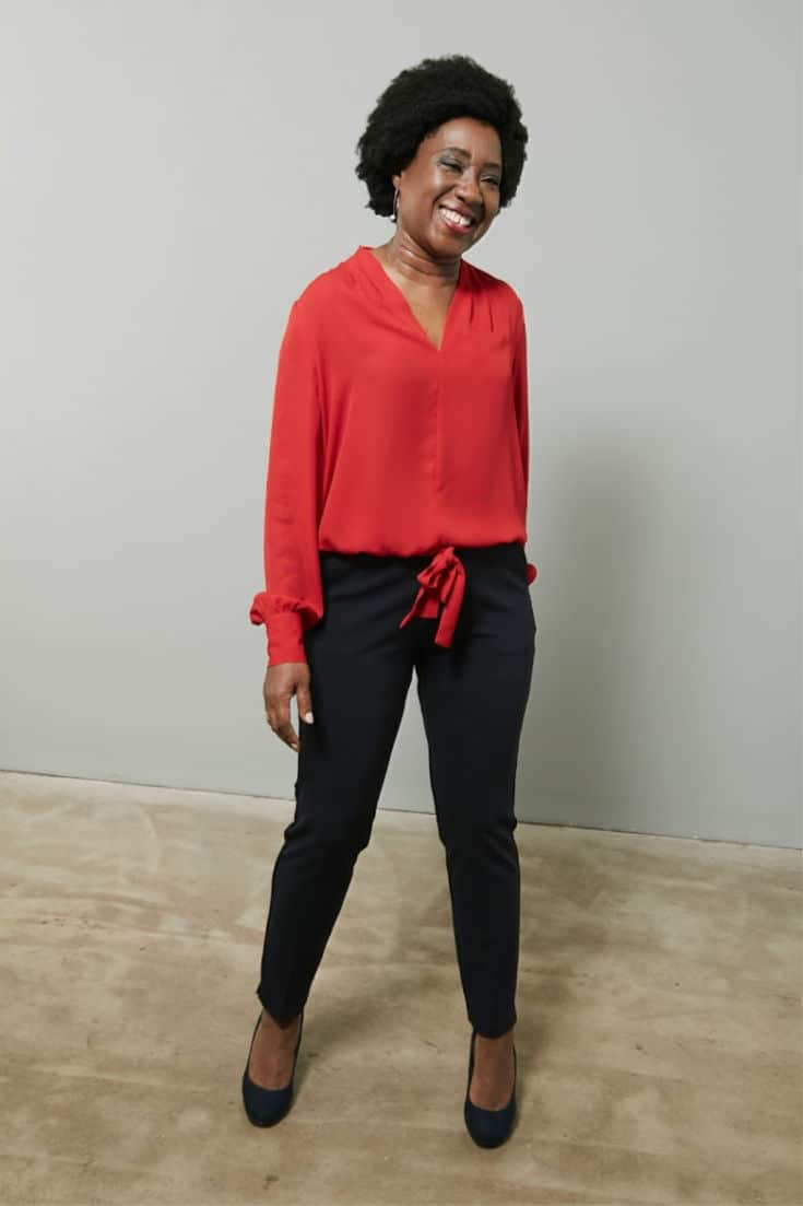 This red V-neck blouse and black pants works for an apple shape #styleover50 #fashionover50 #bodyshape The Bias Cut