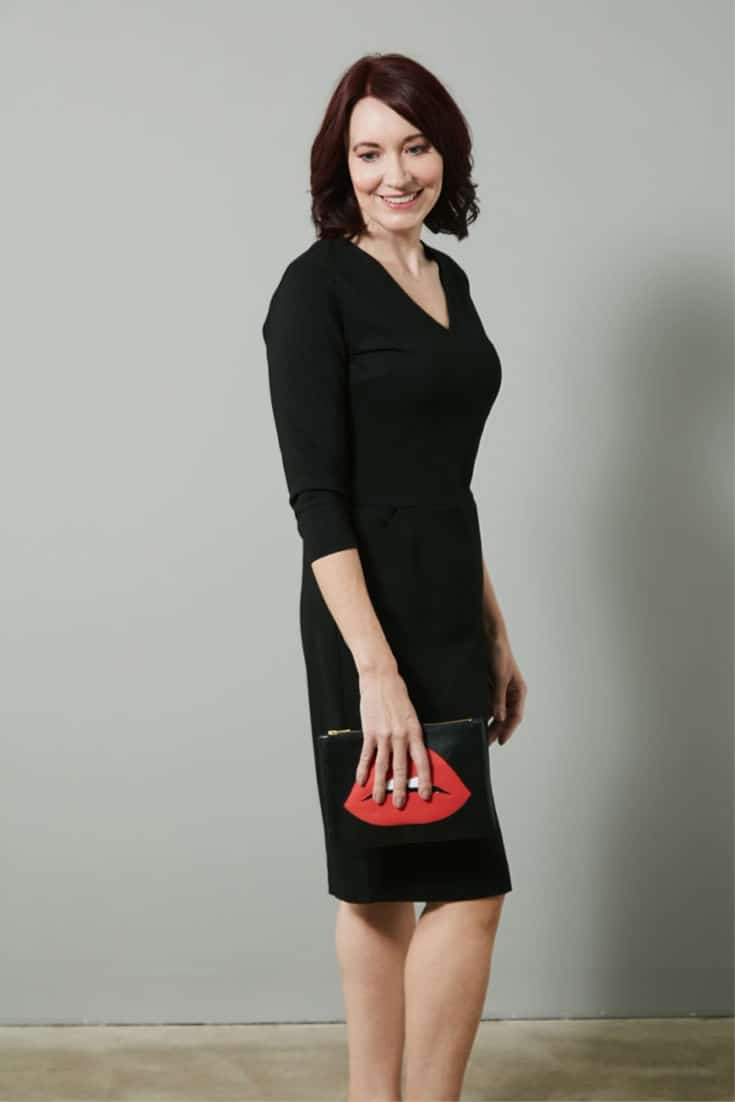 Hourglass body shape - Black dress by Nathalie Vleeschouwer from The Bias Cut #fashionover50 #styleover50