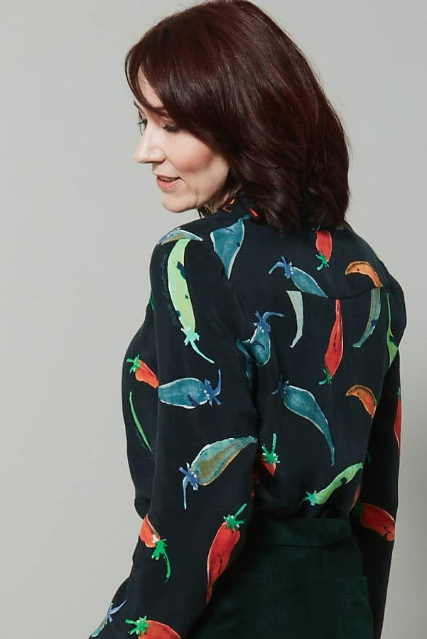 Pear Shape - try this Pom Amsterdam chilies hot stuff blouse #fashionover50 #styleover50 The Bias Cut