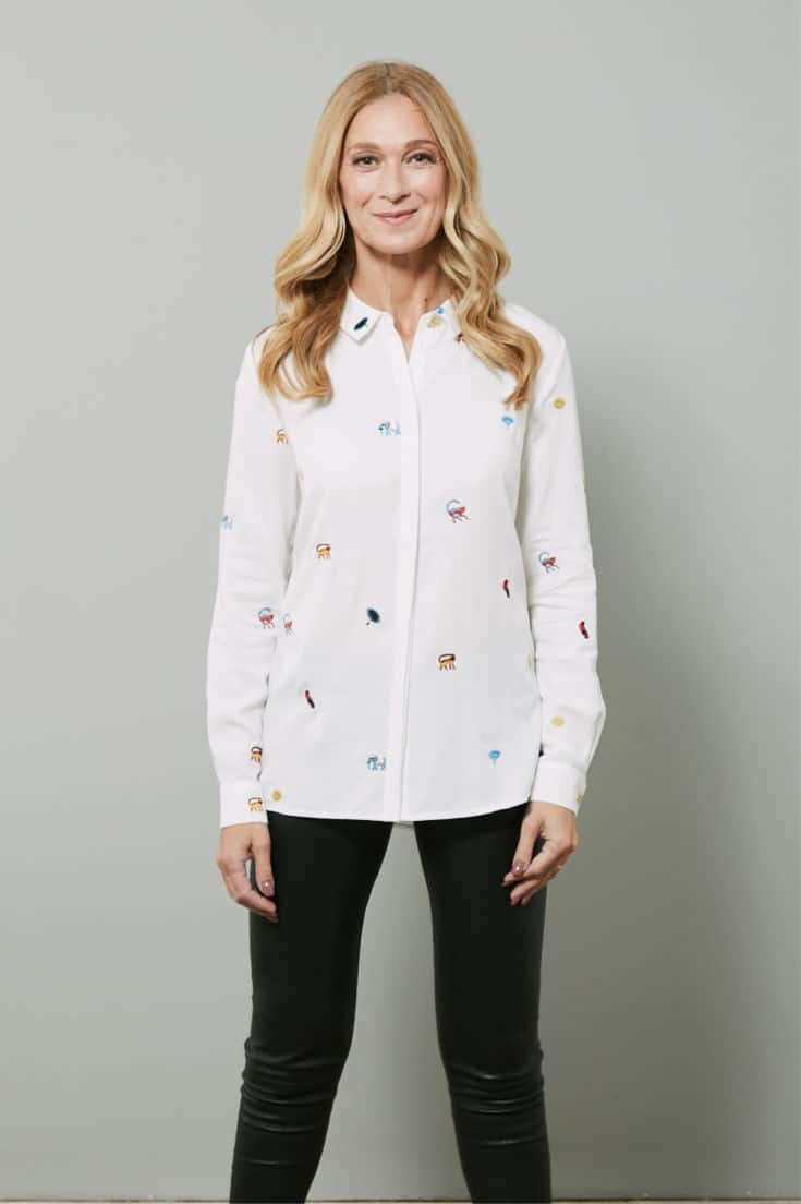 Petite body shape - Lala white fabienne chapot blouse from The Bias Cut #fashionover50 #styleover50
