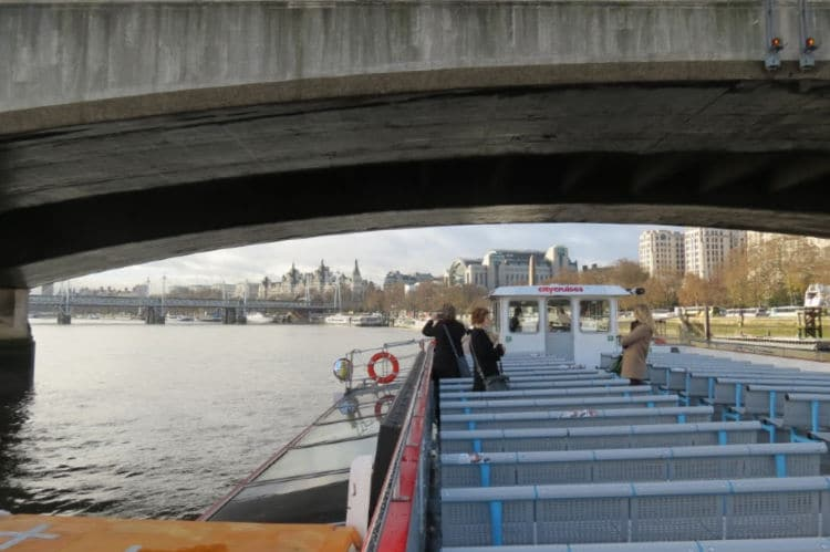 Taking the London City Cruise under a bridge on the Thames #London #CityCruise #Thames