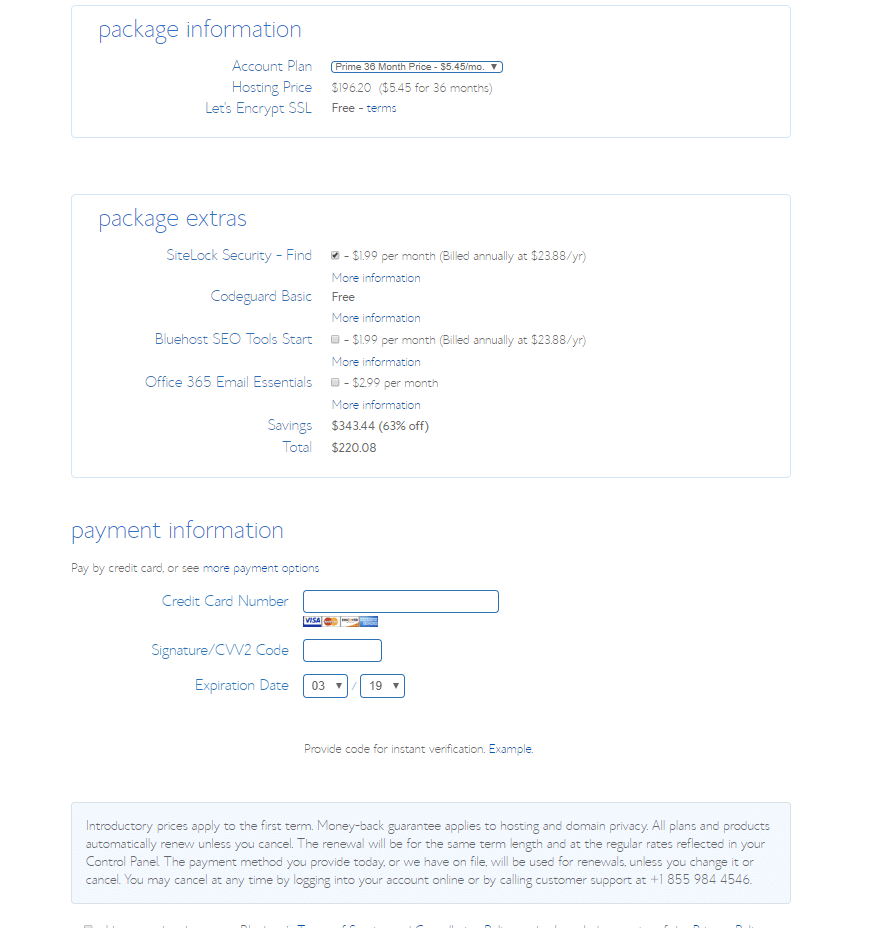 Bluehost hosting setup - Package Info
