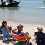 Beach goers at the Florida and Alabama border #beach #Alabama #Floribama