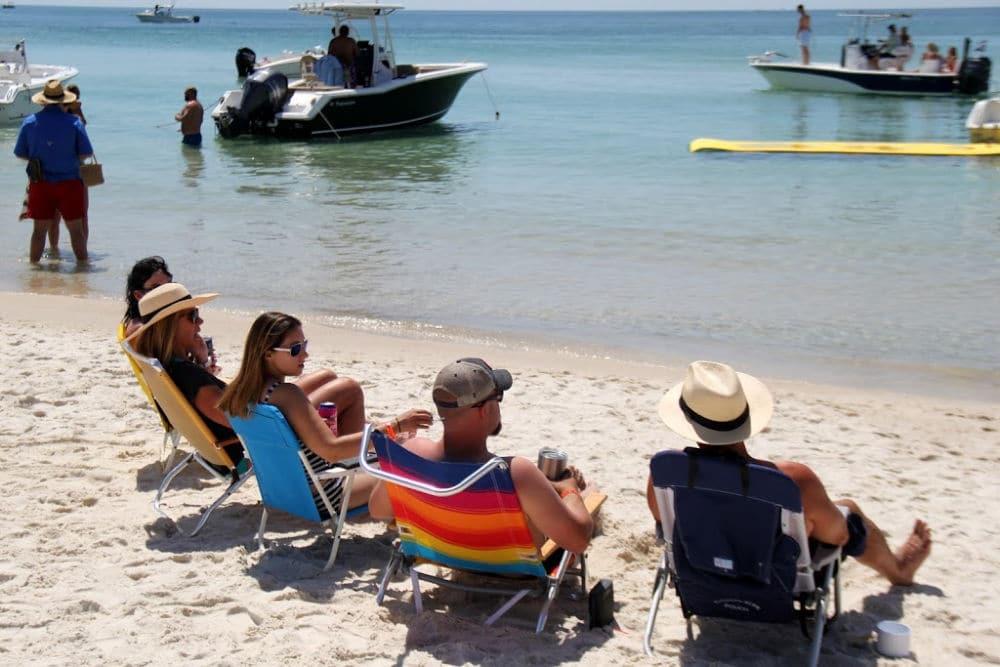The beach at the border of Alabama and Florida - home of the Flora Bama mullet toss #Florida #Alabama #FloriBama #fishtoss