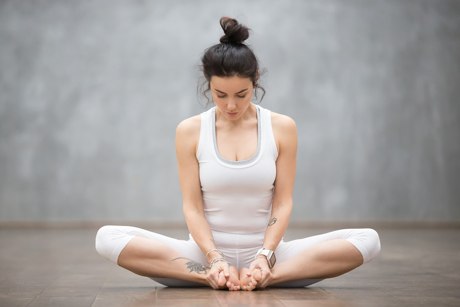 bound angle pose - Strengthens the lower back and also reduces problems with everything from groin strains to knee pain -