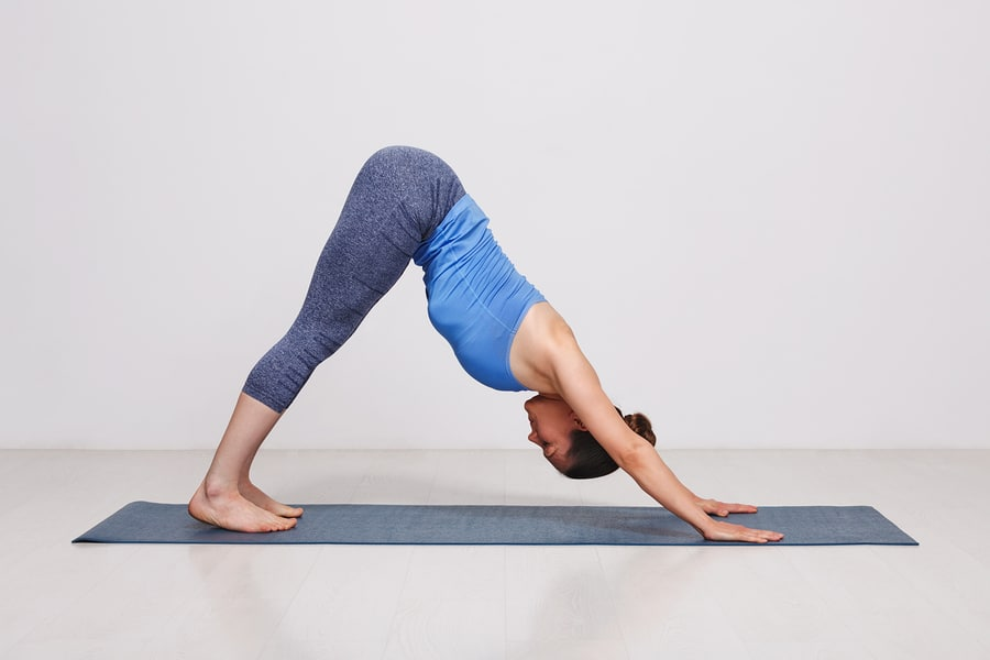 Downward Facing Dog YIt's perfect for sufferers of lower back pain, and also helps to strengthen out your shoulder muscles