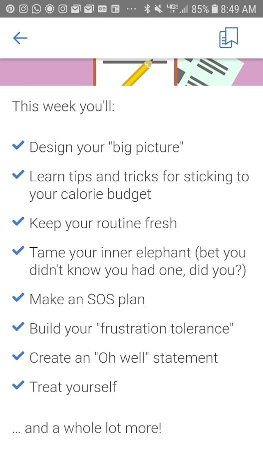 Noom weight loss program plan for the day to help you manage how much you eat and what causes you to eat too much.