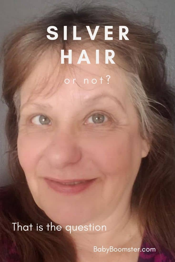Silver hair is becoming a trend with young people but some of us older ones are still struggling with it. #silverhair #grayhair #womenover50 #midlife