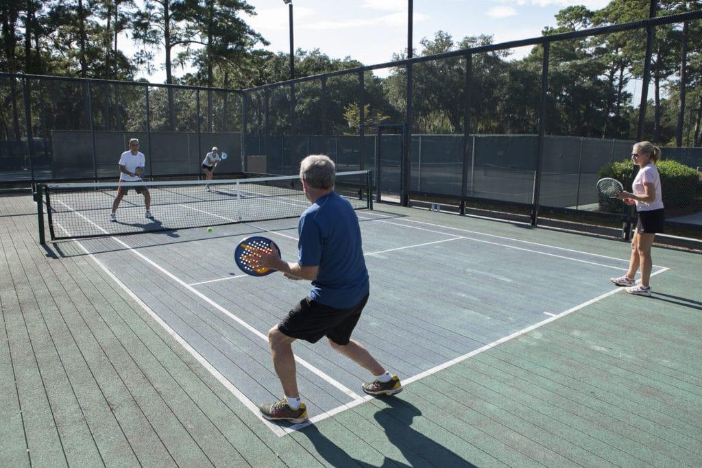 Playing platform tennis at The Landings Club in Savannah Georgia