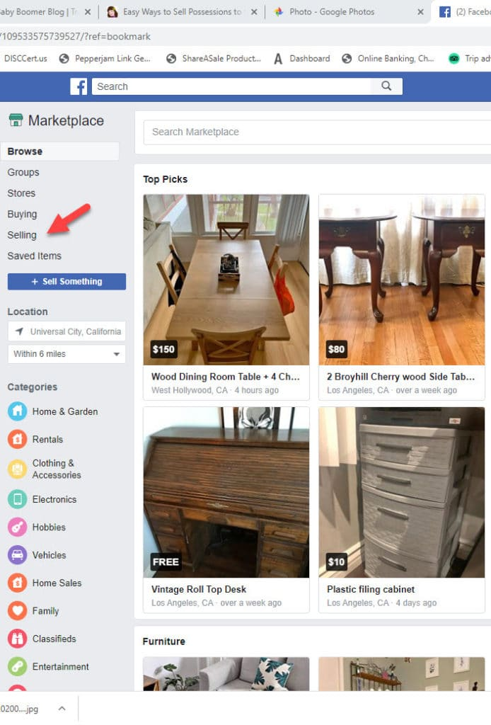 Sell possessions using the Facebook Marketplace app.