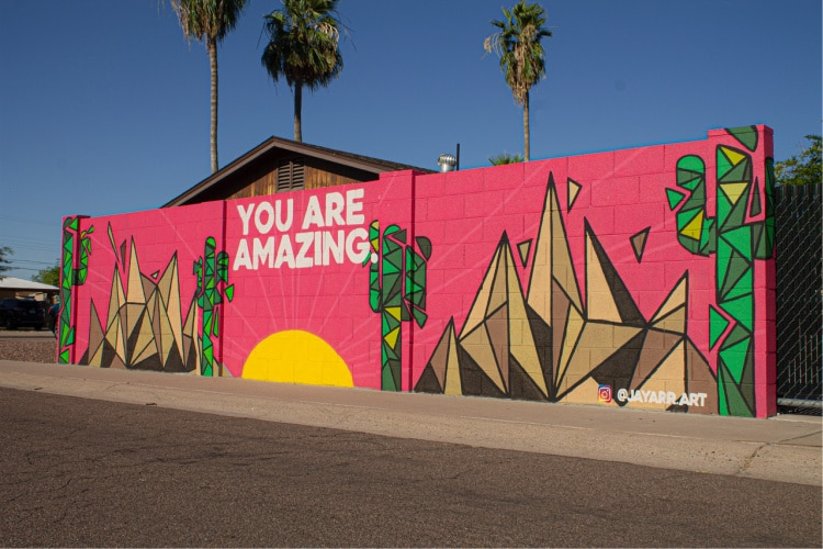 Mural by street artist Jayarr in Tempe  , AZ - You are Amazing!