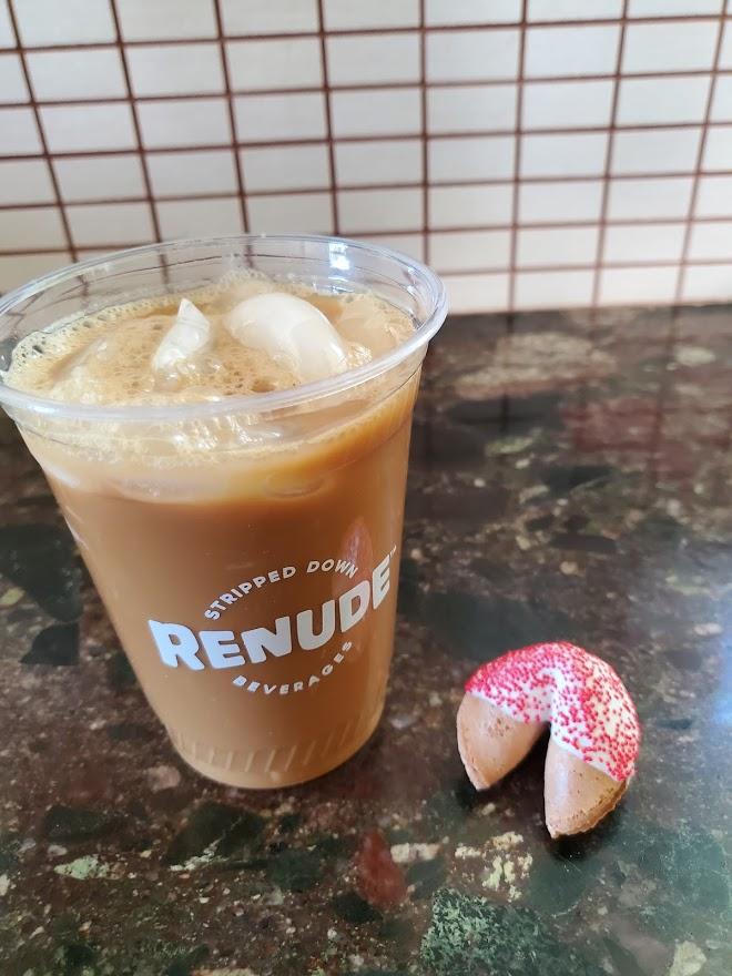 Renude Chaga with iced coffee